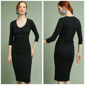 NWOT Michael Stars Black Ruched Long Sleeve Dress
